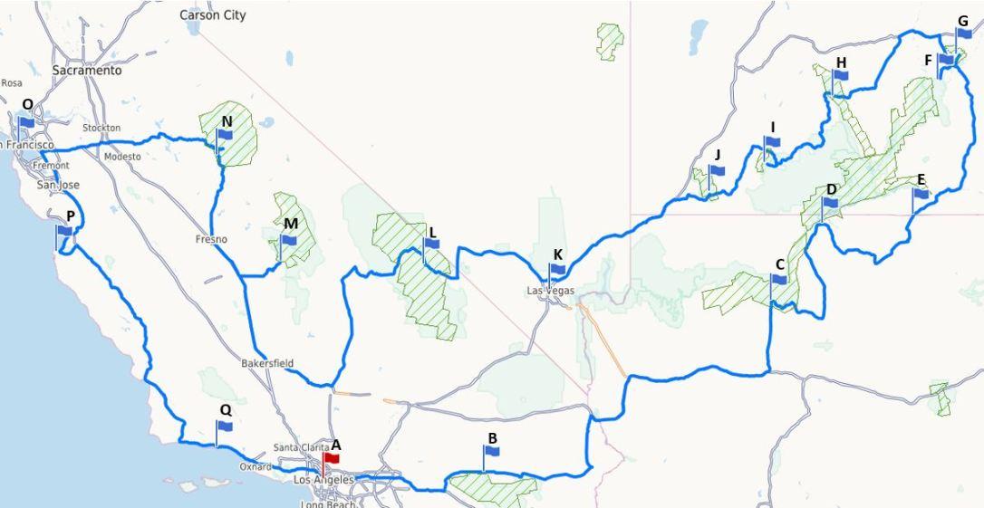 Route Roadtrip USA-Westküste